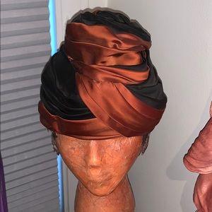 Vintage Silky Orange and Navy Turban